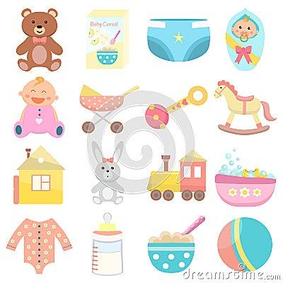 Free Baby Flat Icons Set. Royalty Free Stock Photos - 126659328