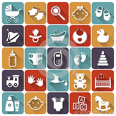 Free Baby Flat Icons. Vector Illustration. Stock Photography - 37161102