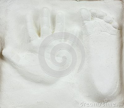 Baby foot and hand print