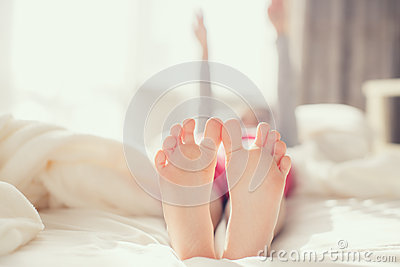baby foot in white blanket stock photo image 68484178