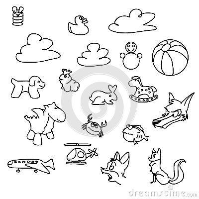 Free Baby Game Doodles Sketched Vector Art Stock Photography - 73315932