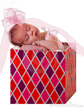 Baby in a gift box