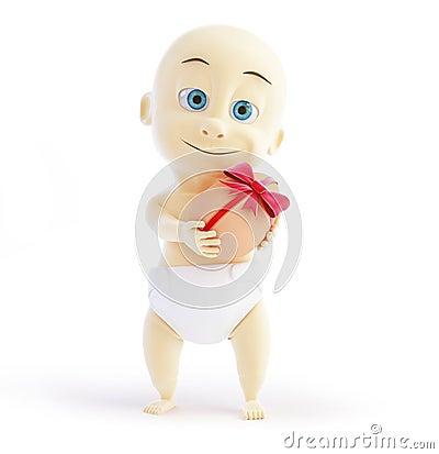 Baby gift egg 3d Illustrations