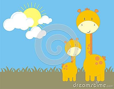 Baby giraffe and mom