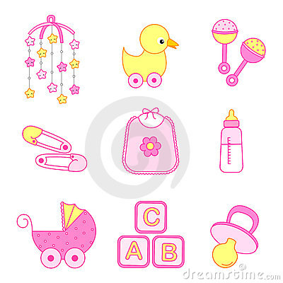 Cute baby girl icon collection including bib, carriage, safety pins ...