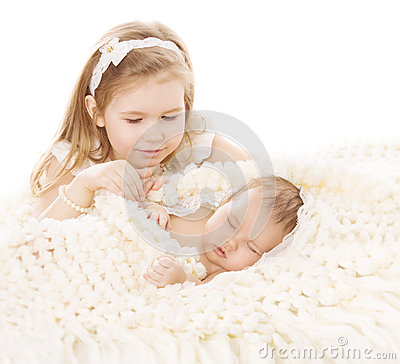 Free Baby Girl And Newborn Boy, Sister Little Child And Sleeping Brother New Born Kid, Birthday In Family Stock Photography - 49757612