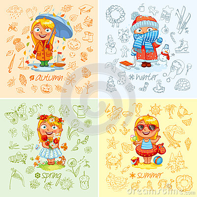 Free Baby Girl And The Four Seasons Royalty Free Stock Image - 48374906
