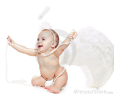 Baby girl in a angel fancy dress