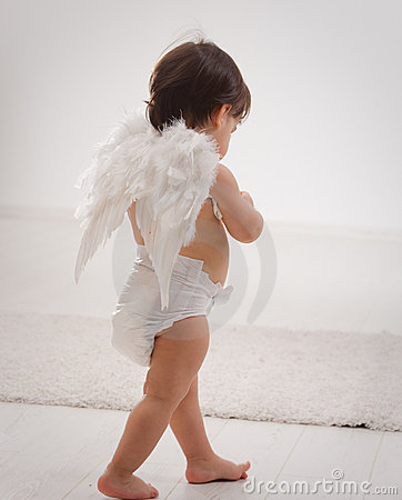 Baby girl with angel wings