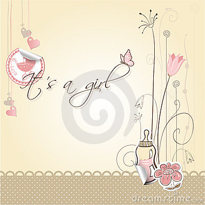 Free Baby Girl Announcement Card Royalty Free Stock Photos - 15718418