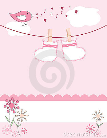 Free Baby Girl Arrival Announcement Card Royalty Free Stock Photos - 10191318