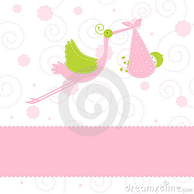 Free Baby Girl Arrival Announcement Card Stock Image - 7263921