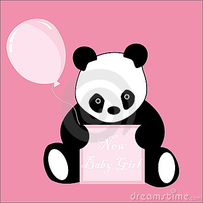 Baby Girl Arrival Announcement Panda card