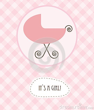 Baby girl arrival announcement retro card