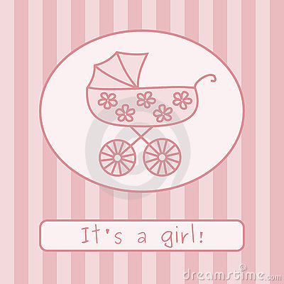 Baby girl arrival announcement (vector)