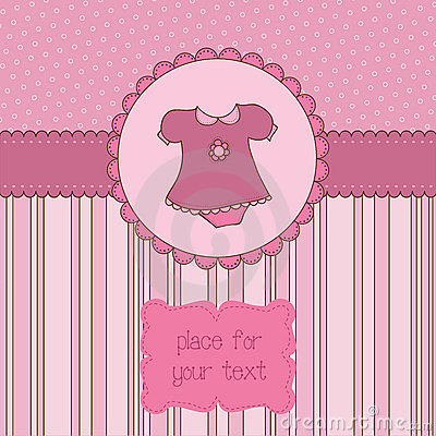 Free Baby Girl Arrival Card With Photo Frame Stock Images - 21870404