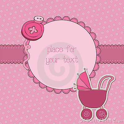Free Baby Girl Arrival Card With Photo Frame Royalty Free Stock Photo - 21870425