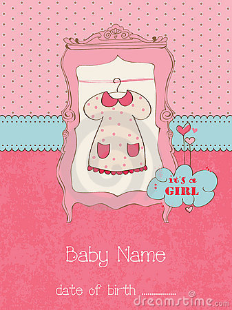 Free Baby Girl Arrival Card With Photo Frame Stock Photography - 21870532
