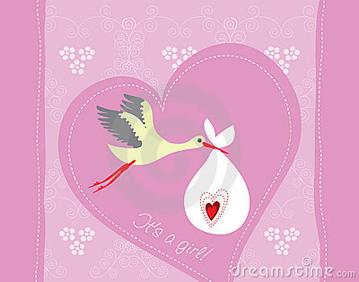 Baby girl arrival greeting card