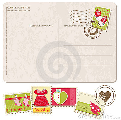 Baby Girl Arrival Postcard with set of stamps