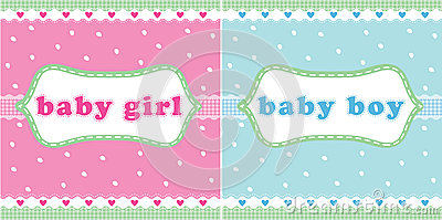 Baby girl and baby boy card