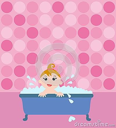Baby girl in the bathtub