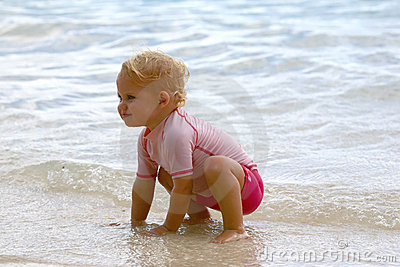 Baby girl at the beach