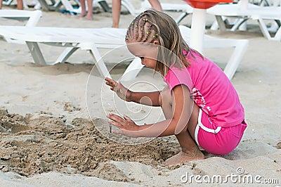 Baby girl on the beach.