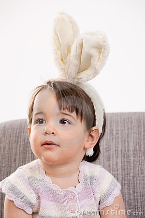 Baby girl with bunny ears