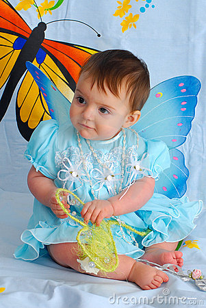 Baby girl with butterfly wings