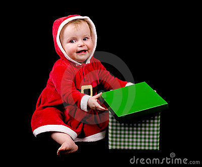 Baby girl in christmas costume