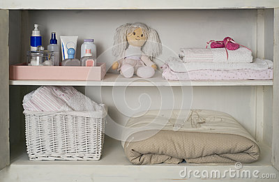 Baby Girl Closet with her stuff placed on shelves