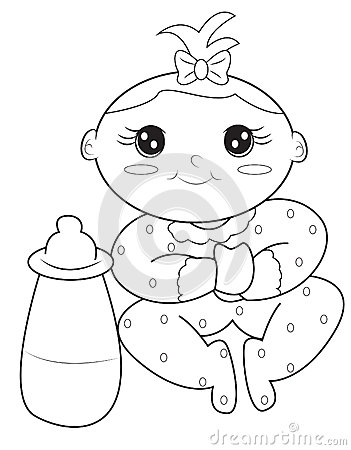 Baby Girl Coloring Page Stock Illustration