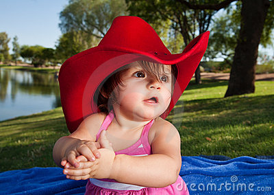 Baby Girl in Cowboy Hat