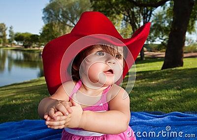 Baby Girl in Cowboy Hat