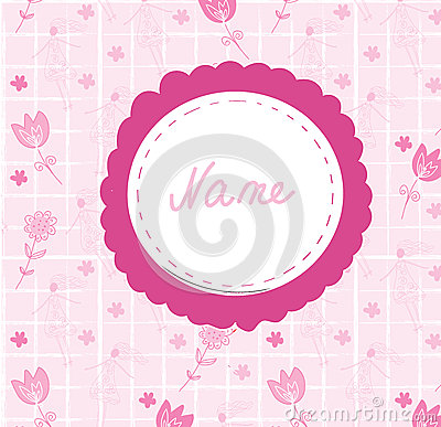 Baby girl cute announcement card with frame