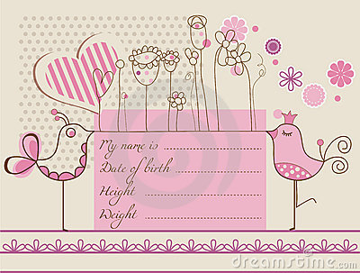 Baby girl cute card