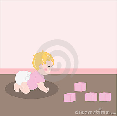 Baby girl with diaper crawling