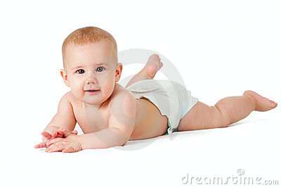 Baby girl in diaper lying