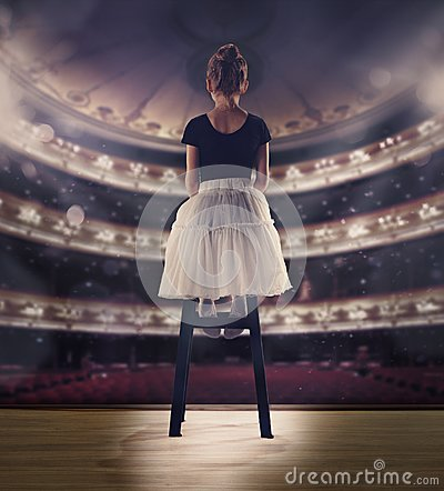 Free Baby Girl Dreaming A Dancing Ballet On The Stage. Childhood Concept. Royalty Free Stock Images - 107746789