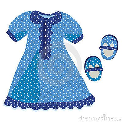 Baby girl dress with blue polka dot