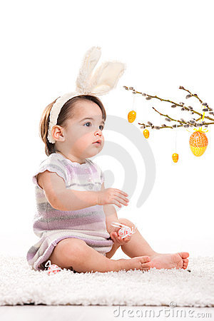 Baby girl in easter bunny costume