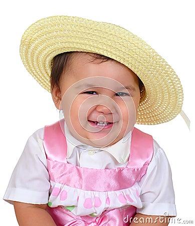 Baby girl in Easter dress