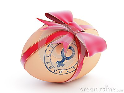 Baby girl egg gift with bow