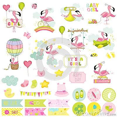 Free Baby Girl Flamingo Scrapbook Set. Decorative Elements Royalty Free Stock Photo - 79611935