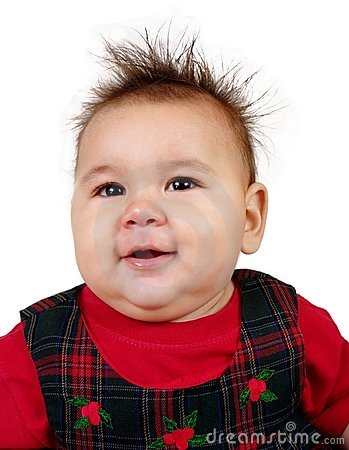 Baby girl with funny spiky hair