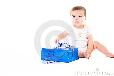 Baby girl with gift