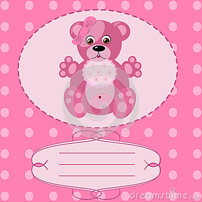 Baby girl greeting card, vector background