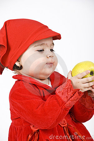 Free Baby Girl Holding An Apple Stock Image - 14165381