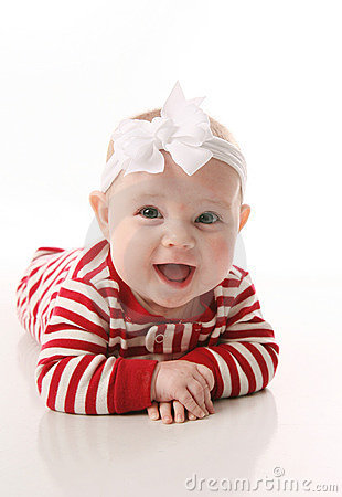 Free Baby Girl In Holiday Jammies Stock Image - 17351111